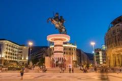 亚历山大大帝喷泉在斯科普里 库存图片
