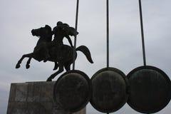 亚历山大大帝雕象塞萨罗尼基市的在希腊 免版税库存照片