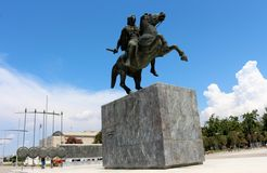 亚历山大大帝,塞萨罗尼基,希腊雕象  图库摄影