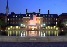 亚历山大市dc大厅晚上VA华盛顿 库存照片