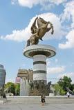 亚历山大帝雕象在斯科普里 免版税库存照片