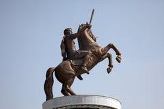 亚历山大帝雕象在斯科普里 免版税库存图片