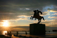 亚历山大极大的雕象 库存照片