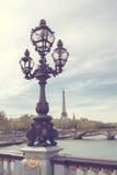 亚历山大桥梁III反对艾菲尔铁塔在巴黎,法国 免版税库存照片