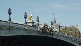 亚历山大桥梁III和盛大Palais 法国巴黎 股票视频