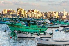 亚历山大港口看法  免版税库存照片