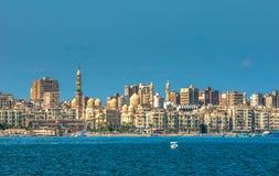 亚历山大港口,埃及视图 库存图片