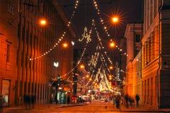 亚历山大街道在圣诞节期间的赫尔辛基 库存照片