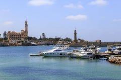 亚历山大,埃及- 2015年7月15日:小船在亚历山大 图库摄影