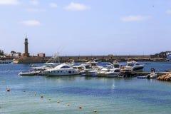亚历山大,埃及- 2015年7月15日:小船在亚历山大 免版税库存照片