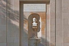 亚历山大・弗莱明纪念碑在巴塞罗那,西班牙 库存图片