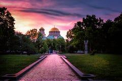 亚历山大・涅夫斯基大教堂在索非亚保加利亚 库存照片
