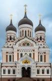 亚历山大・涅夫斯基正统大教堂在塔林老镇, Est 免版税库存图片