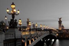 亚历山大III桥梁,巴黎 免版税库存图片