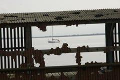 亚历山德拉船坞,老鱼靠码头,金斯敦在船身,钓鱼贸易 库存照片