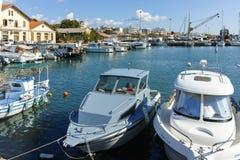 亚历山德鲁波利斯,希腊- 2017年9月23日:亚历山德鲁波利斯、东部马其顿和色雷斯港和镇惊人的看法  库存图片