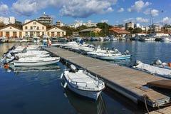亚历山德鲁波利斯,希腊- 2017年9月23日:亚历山德鲁波利斯、东部马其顿和色雷斯港和镇惊人的看法  免版税库存照片