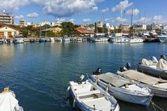 亚历山德鲁波利斯,希腊- 2017年9月23日:亚历山德鲁波利斯、东部马其顿和色雷斯港和镇惊人的看法  免版税库存图片