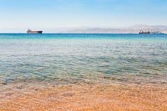 亚喀巴以色列山端口视图 免版税库存照片