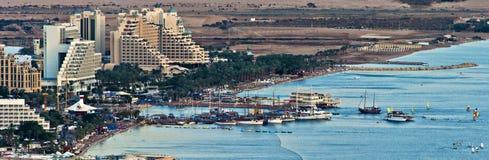 亚喀巴海湾红海视图 免版税库存照片