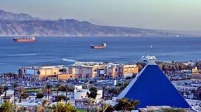 亚喀巴eilat海湾以色列视图 免版税库存照片
