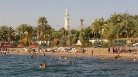 亚喀巴,约旦01日2016年:海滩亚喀巴 图库摄影