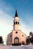 亚尔他的,挪威小的白色教会 免版税库存图片