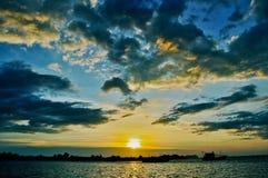 从亚庇的日落 沙巴 免版税库存图片