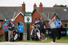 亚当・斯科特铁射击开放高尔夫球2012第9个发球区域 免版税库存图片