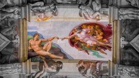 亚当工作的创作在西斯廷教堂天花板的在梵蒂冈,梵蒂冈 免版税库存照片