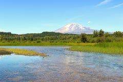 亚当斯山风景视图从Trout湖的 库存图片
