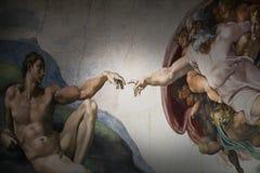 亚当的罗马意大利3月08日创作米开朗基罗 库存图片