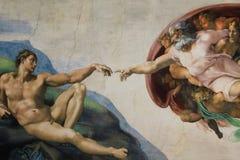 亚当的罗马意大利3月08日创作米开朗基罗 免版税库存图片