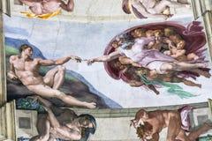 亚当,西斯廷教堂,梵蒂冈的创作 免版税库存照片