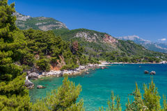 亚得里亚海的夏日海风景 库存照片