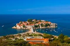 亚得里亚海的海岛montenegro海运stefan sveti 免版税库存图片