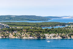 亚得里亚海的海岸地中海风景  图库摄影