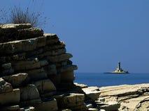 亚得里亚海的海岸线灯塔porer 库存照片
