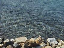 亚得里亚海的海滩意大利海运视图 免版税库存照片