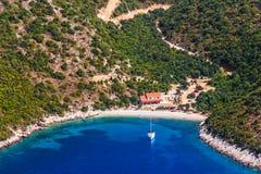 亚得里亚海的风景, Peljesac半岛在克罗地亚 图库摄影