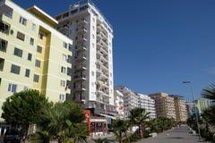 亚得里亚海的Shengjin沿海市在阿尔巴尼亚 免版税库存照片