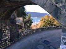 亚得里亚海 黑山 老城镇 库存照片