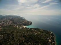 亚得里亚,克罗地亚空中照片  免版税库存照片