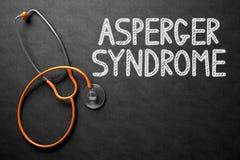 亚斯伯格在黑板的综合症状概念 3d例证 免版税库存照片