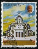亚松森大教堂和教宗若望保禄二世画象  免版税图库摄影