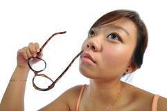 亚洲中国深刻的女孩想法 库存照片