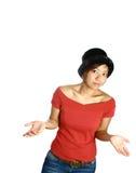 亚洲人她的肩膀耸肩妇女 免版税图库摄影