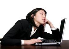 亚洲企业休眠的妇女 免版税库存照片