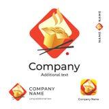 亚洲传统食物商标现代身分美好的中国餐馆品牌和App象商业标志概念集合模板 库存图片