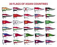 亚洲国家30面旗子  图库摄影